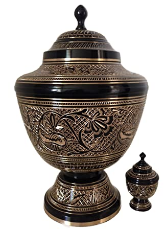 Urns for Human Ashes, Cremation Urn, Solid Brass, Black and Gold Funeral Urns W Keepsake