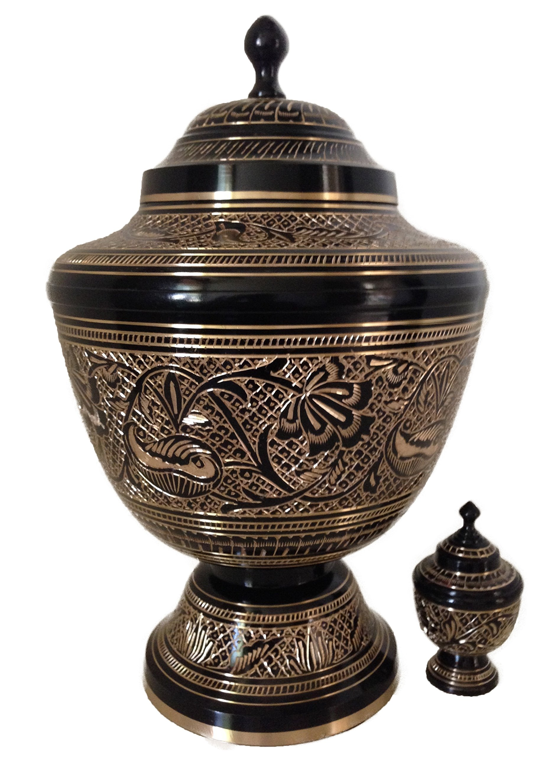 New World Accents Cremation Urn, Solid Brass, Black and Gold Funeral Urns W/keepsake
