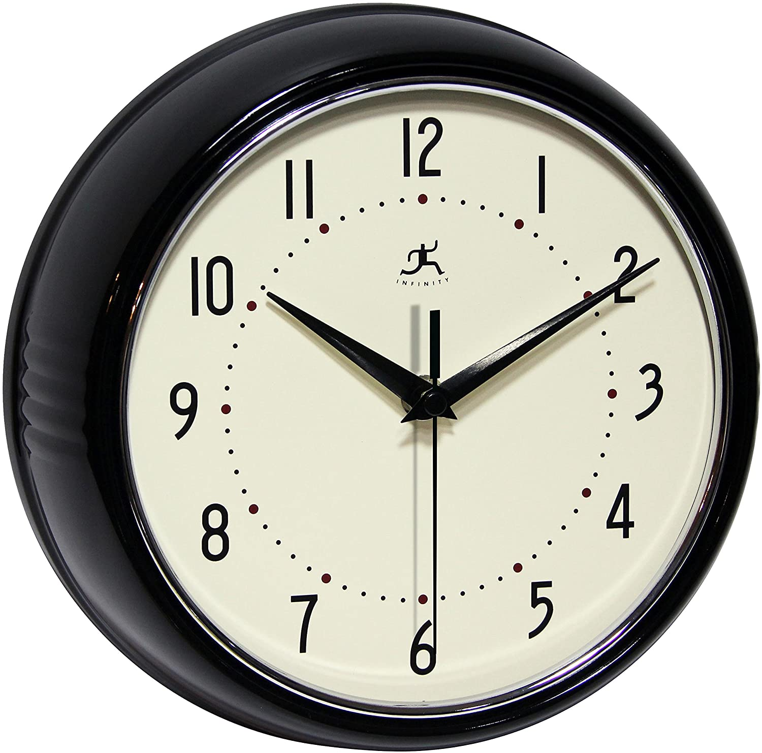 Infinity Instruments Retro Round Metal Wall Clock, Black