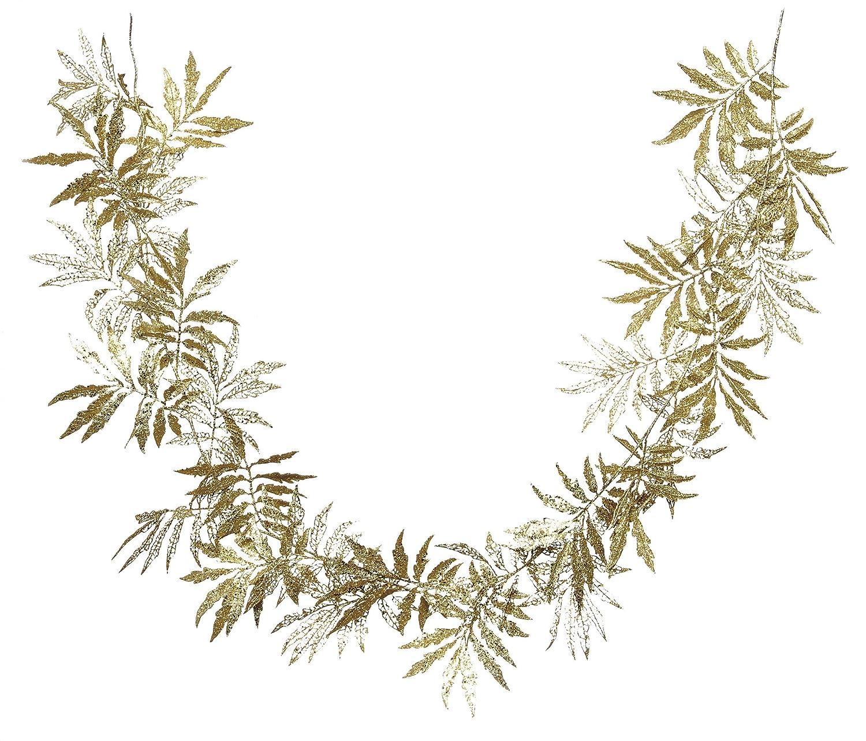 White 180 cm Festive Productions Glitter Leaf Garland