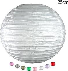 EinsSein 1 x LAMPION Medium Weiss DM 25cm Hochzeit Wedding Laterne Papierlampion