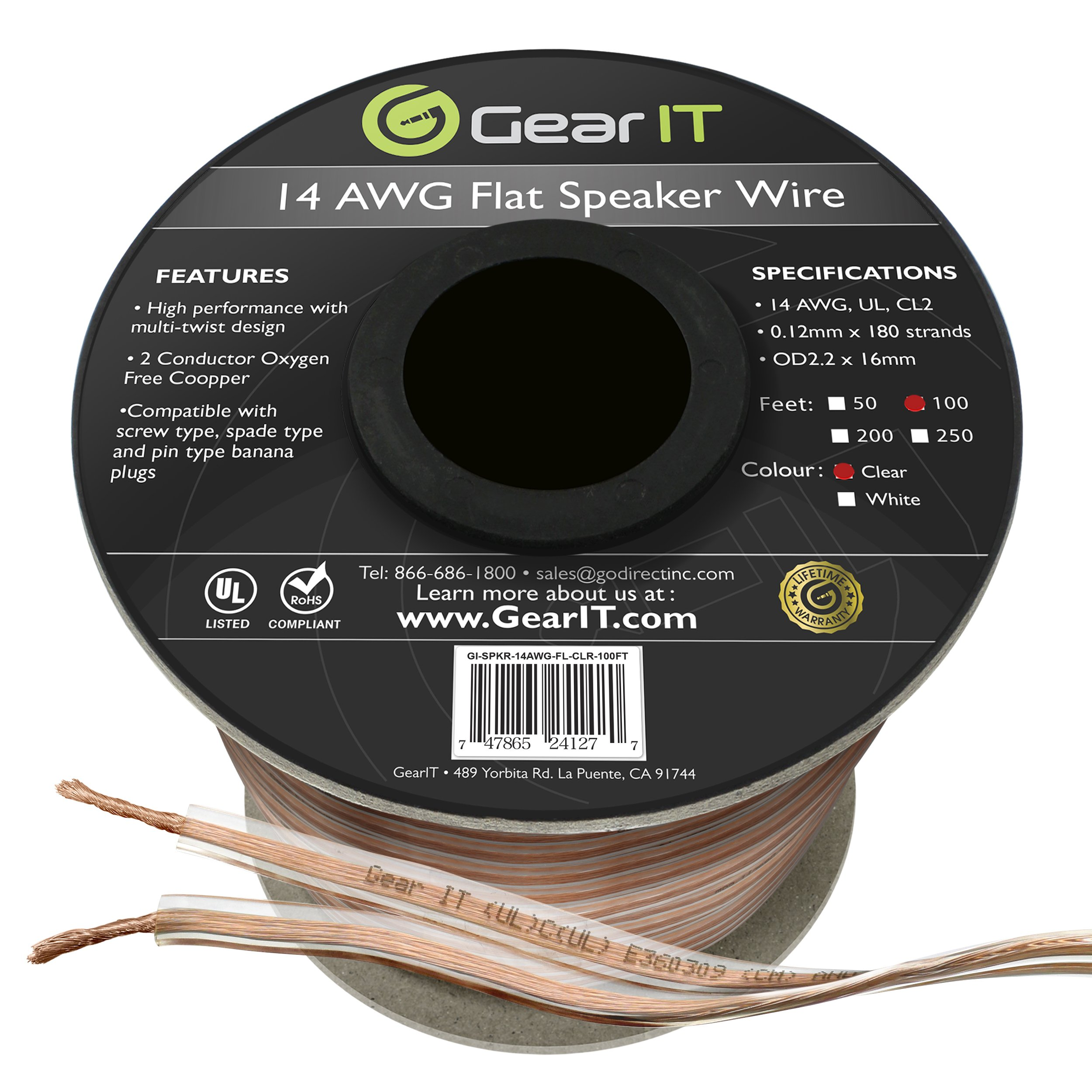 GearIT Elite Series 14AWG Flat Speaker Wire (100 Feet / 30.4 Meters) - Oxygen Free Copper (OFC) CL2 Rated In-Wall Installation for Home Theater, Car Audio, and Outdoor Use, Clear