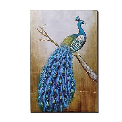 amazon com 3hdeko peacock oil painting mosaic gold foil large size