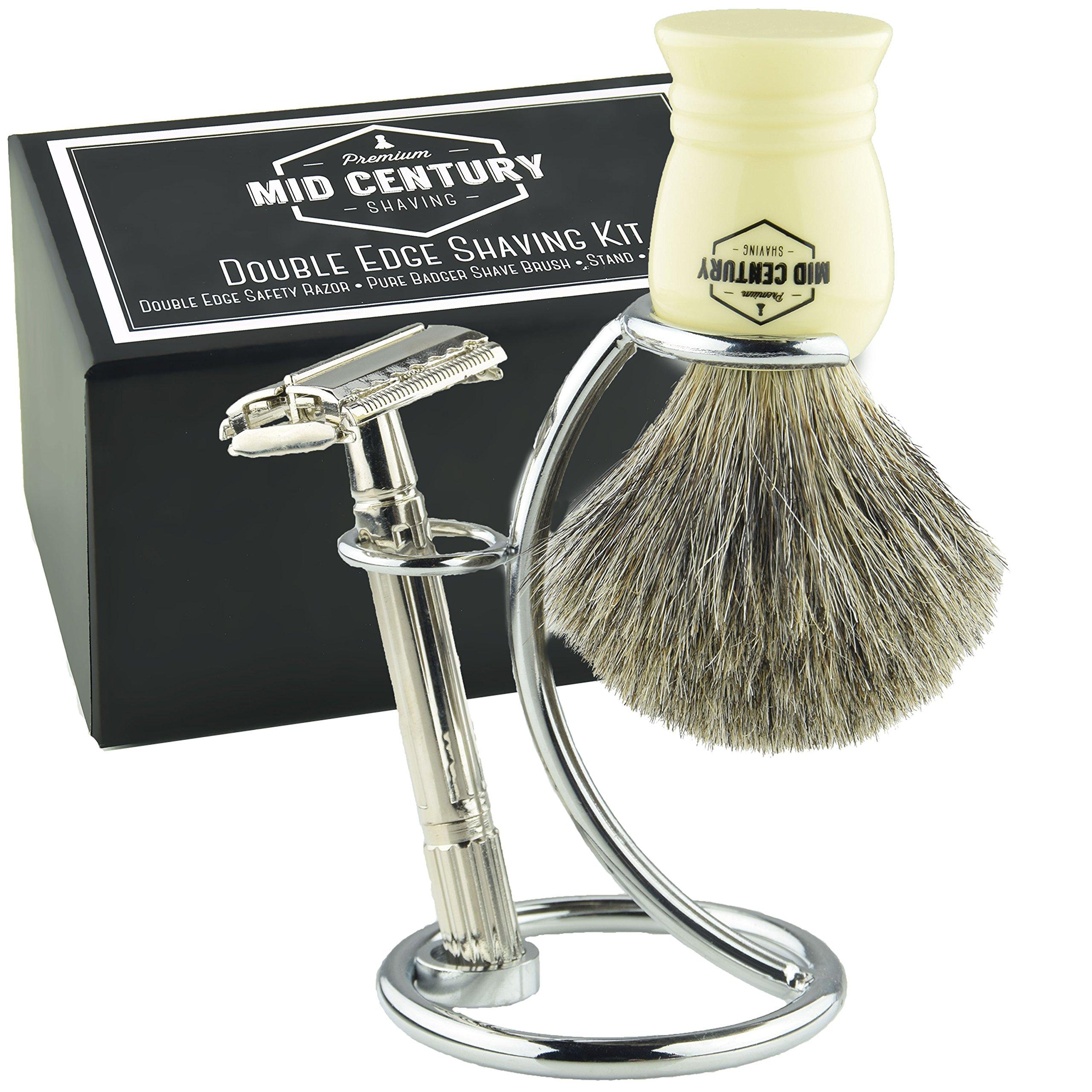 Safety Razor Shaving Kit: Double Edge Razor, Pure Badger Brush, Heavy Chrome Stand with Travel Case; Complete Wet Shave Gift Set (Ivory)