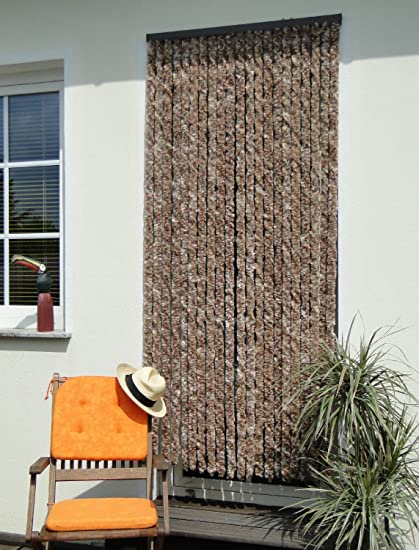 Tende Per Portoni Esterni.Tenda Per Porta Con Protezioni A Frange In Ciniglia Dimensioni 100 Cm X 230 Cm Colore Beige Marrone