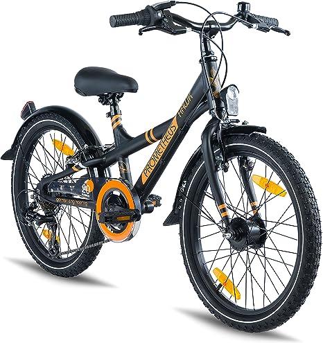 Prometheus Bicicleta Infantil - 20 Pulgadas - niño y niña - Bicicleta de Aluminio - Negro Mate Naranja - a Partir de 7 años - con Sistema de Cambios - BMX Edition 2019: Amazon.es: Deportes y aire libre