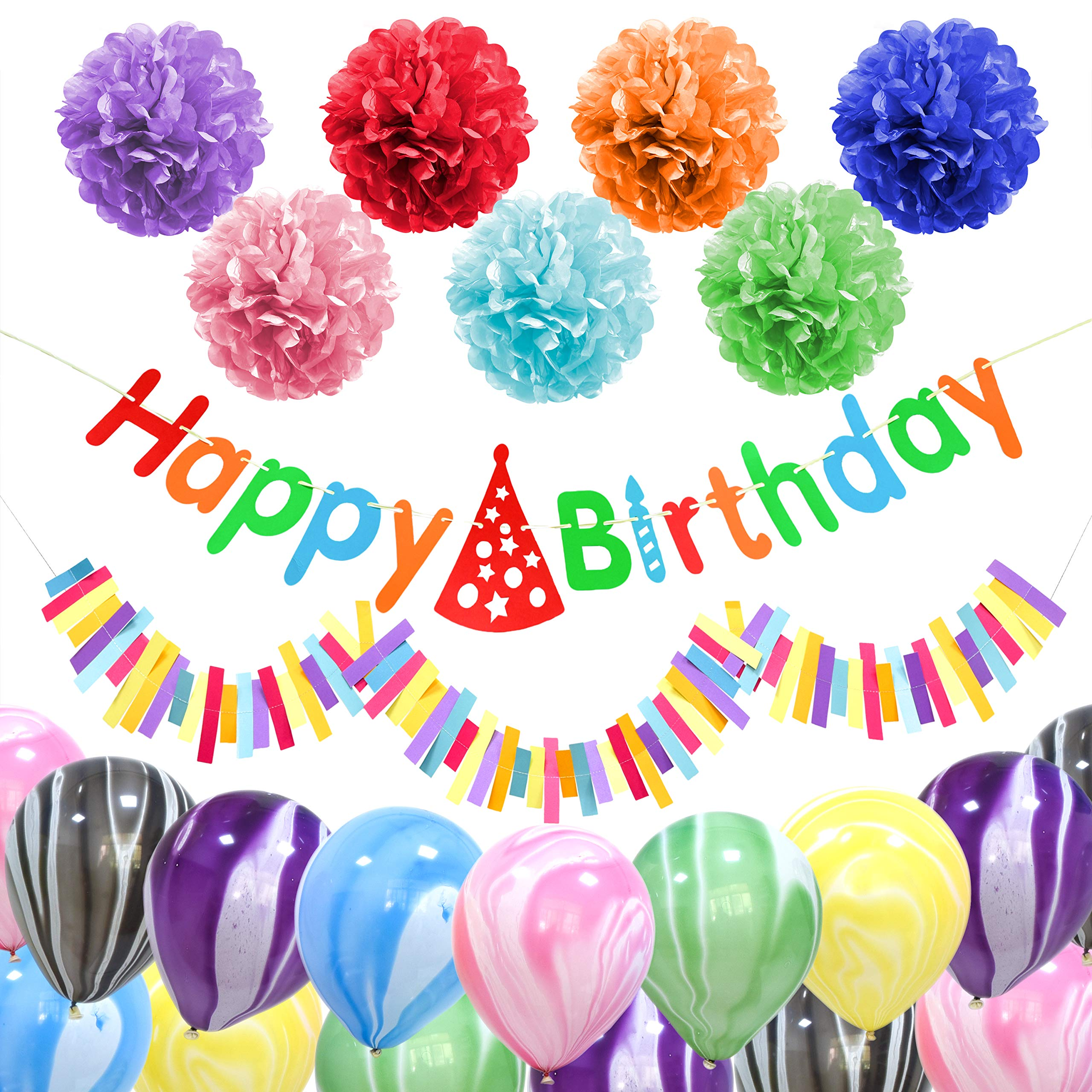 ZukoCert Happy Birthday Banner 7 Pcs Rainbow Colors Paper Pom Poms Birthday Decorations 18 Pcs Marble Agate Balloons Kids Family Celebrate Birthday Party Supplies
