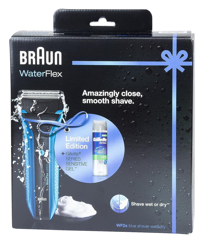 Braun Waterflex WF2s Men's Electric Foil Shaver Wet and Dry Rechargeable and Cordless Razor - Blue - Gilette Series Sensitive Gel AHGRD006294
