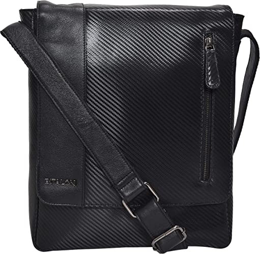 Leather Sling Bag for Tablets Small Crossbody Messenger Bag for Men and Women