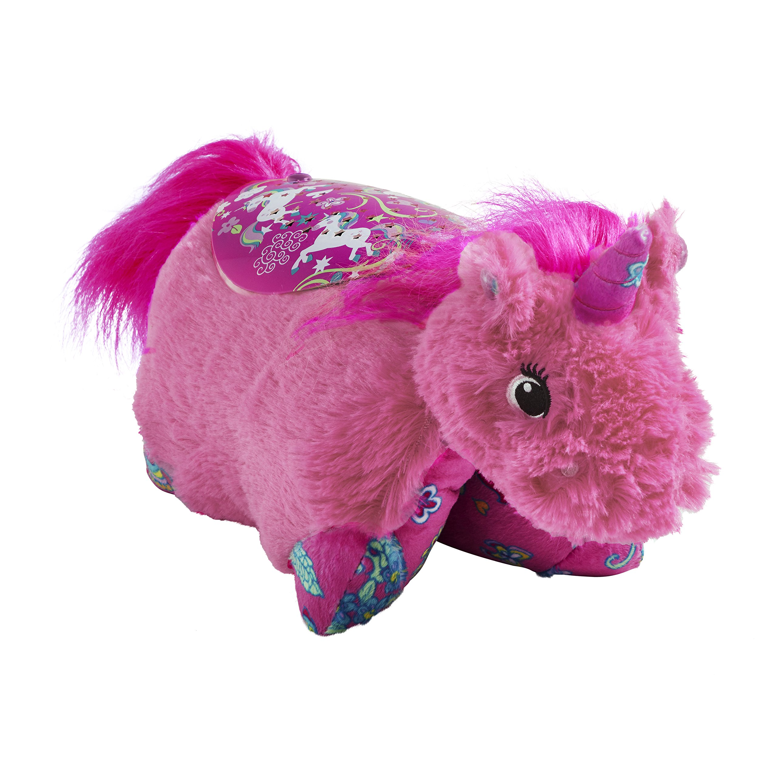 Pillow Pets Sleep Time Lites, Colorful Pink Unicorn, Stuffed Animal Plush Night Light