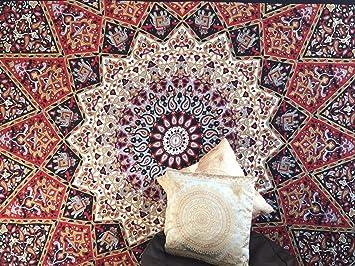 Indien Rouge Noir Blanc Gris Psychedelique Tapisserie Murale A