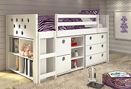 Amazon Com Donco Kids Twin Circles Modular Low Loft Bed In White