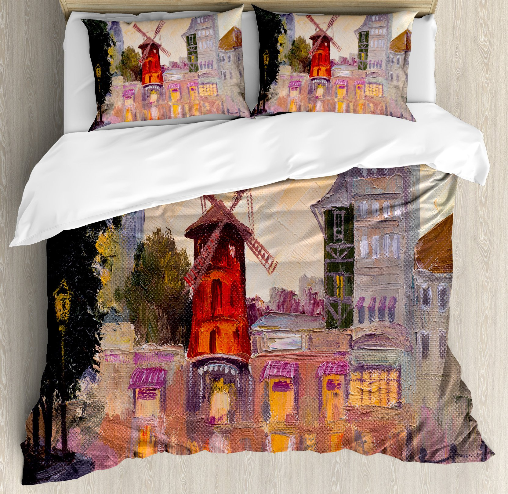 European Duvet Cover Set King Size by Ambesonne, Painting of Moulin Rouge in Paris City Centre of Love Vintage France Art Print, Decorative 3 Piece Bedding Set with 2 Pillow Shams, Multicolor