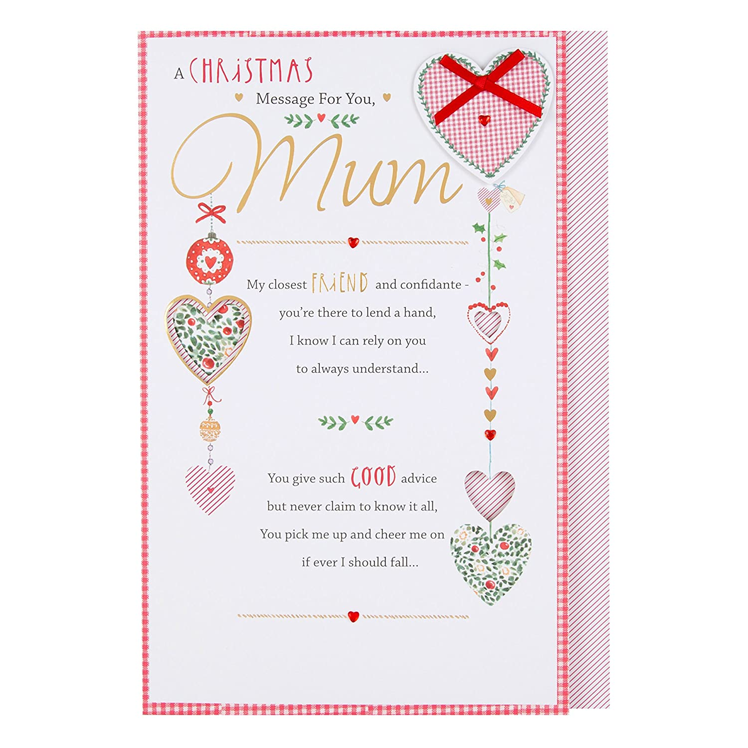 Hallmark Mum Christmas Card Thank You Amazon