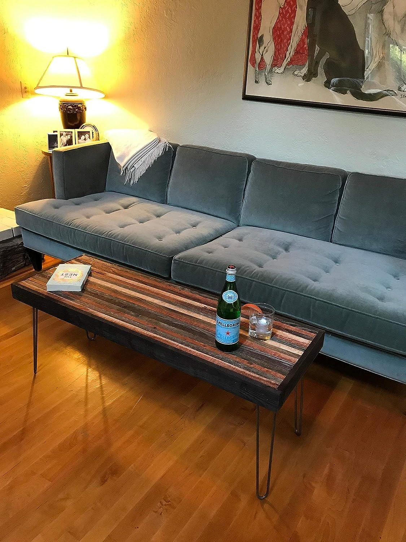Beautiful striped coffee table mid century modern hairpin legs