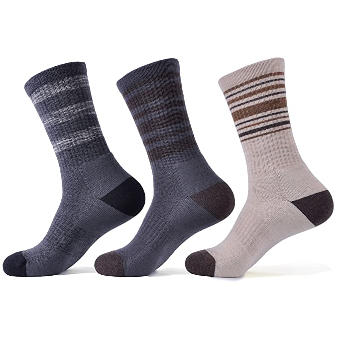 SOLAX 3 Pairs Men s Hiking Athletic Socks Merino Wool Sport Crew Sock (Size  for 9 76394acf7