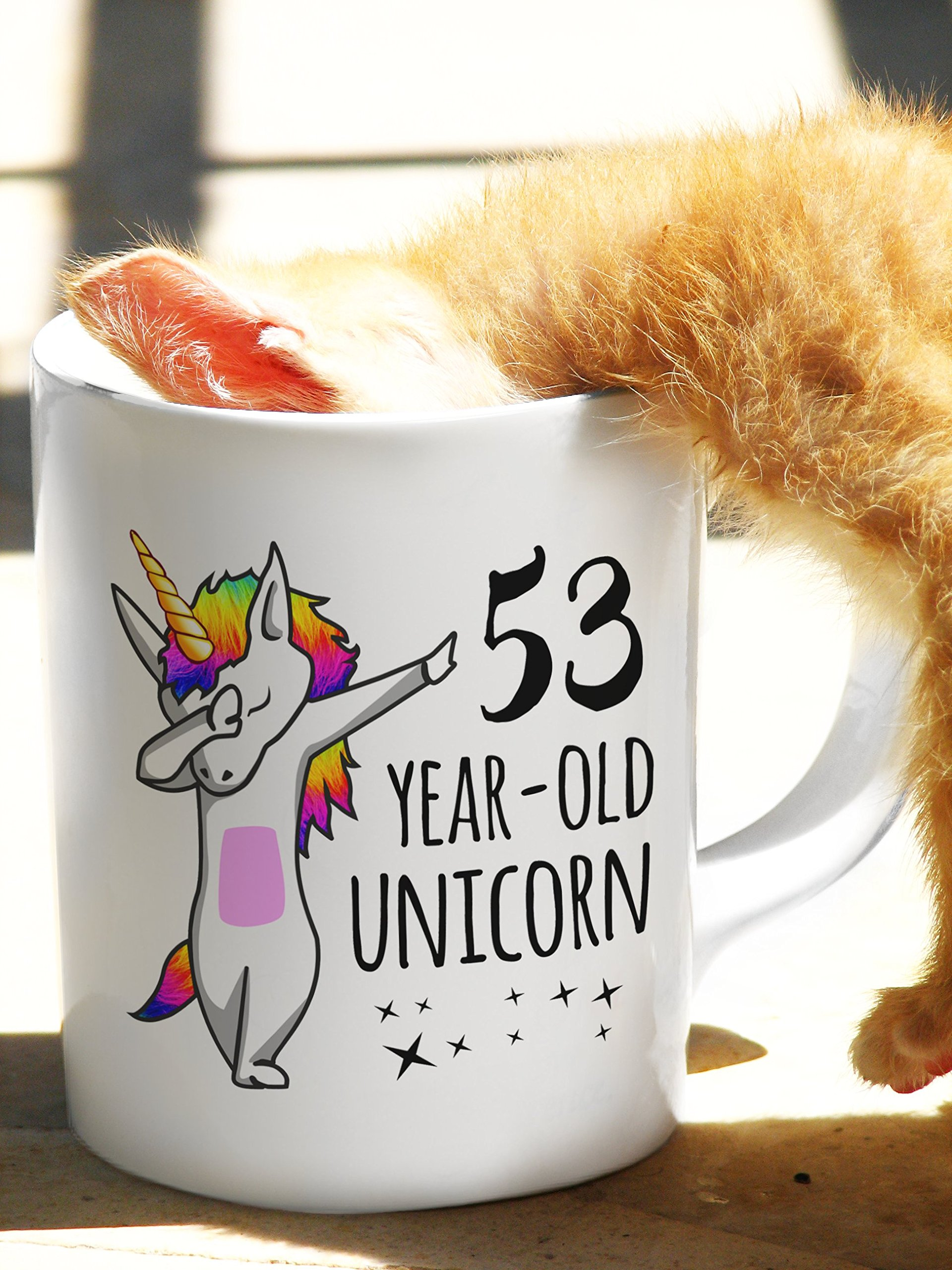 Fifty-Three-Year-Old Unicorn Dabbing Mug - Legends are Born in 1964 | 53rd Birthday & Anniversary Bday Gift - Life Begins At 53 | Believe in the Magical Rainbow Dab Hip-Hop Dance Pose by Unknown (Image #5)