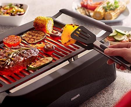 Philips Interiores HD6370/90 Grill, parrilla, plancha con tecnología que reduce el humo, 1600 W, Grid, Negro: Amazon.es: Hogar