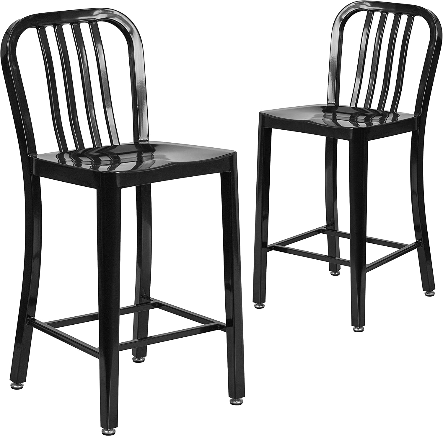 "Flash Furniture 2 Pack 24"" High Black Metal Indoor-Outdoor Counter Height Stool with Vertical Slat Back"