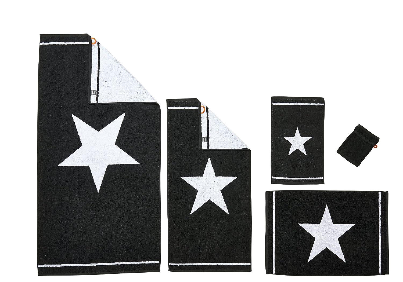 DONE Daily Shapes 1 STAR 1 Serviette Invité + 1 Serviette de toilette + 1 Drap de douche + 1 Tapis de Bain + 1 Gant - Noir et Blanc: Amazon.es: Hogar