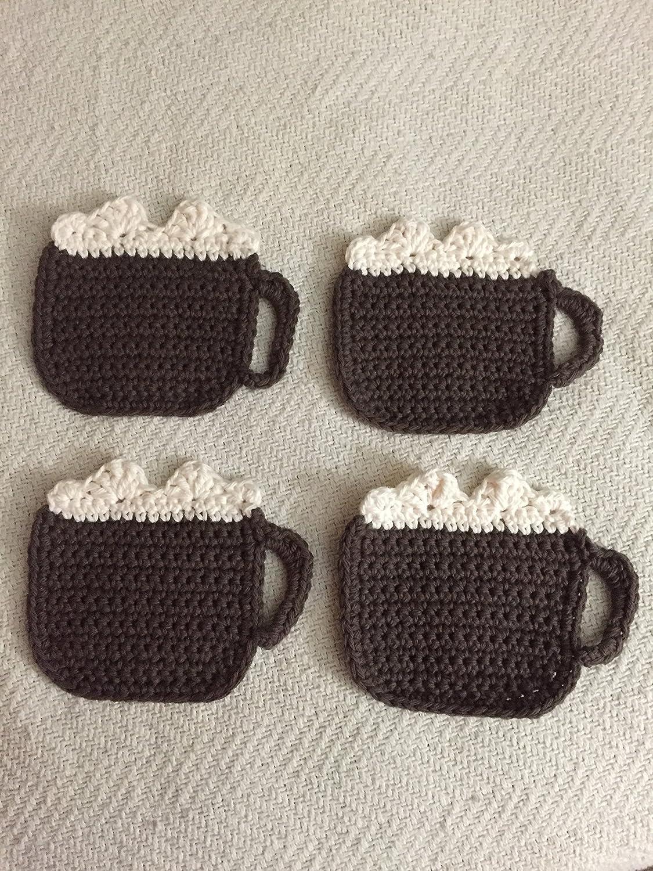 Amazon Set Of 4 Crocheted Hot Cocoa Coasters Handmade