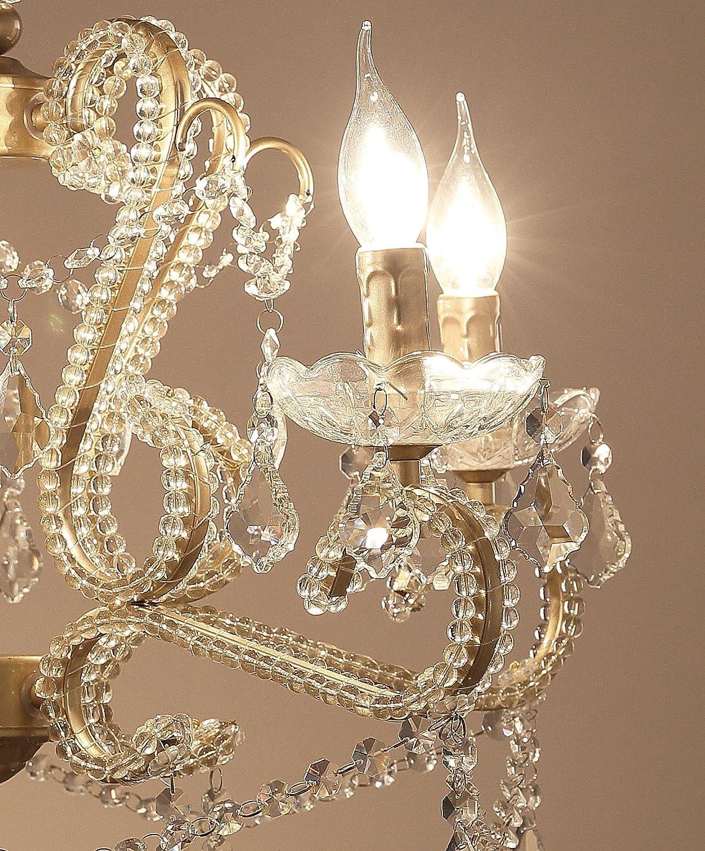 Bronze Garwarm 3 Light Crystal Chandeliers Ceiling Lights Crystal Pendant Lighting Ceiling Light Fixtures For Living Room Bedroom Restaurant Porch Look Open