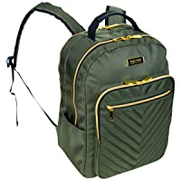 Women's Chelsea Backpack Chevron Quilted 15-Inch Laptop & Tablet Fashion Bookbag Daypack, Olive, Laptop