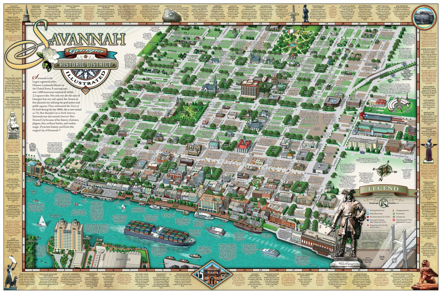 Savannah Historic District Illustrated Map Michael Karpovage – Savannah Tourist Map
