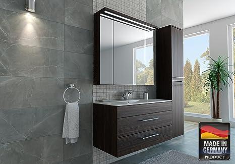 MISPA© Badezimmer Badmöbel-Komplett-Set inkl. Hochschrank,  Dunkelbraun/Holzoptik - 100cm, LED-Beleuchtung, Softclose-Technologie,  Waschbecken, ...