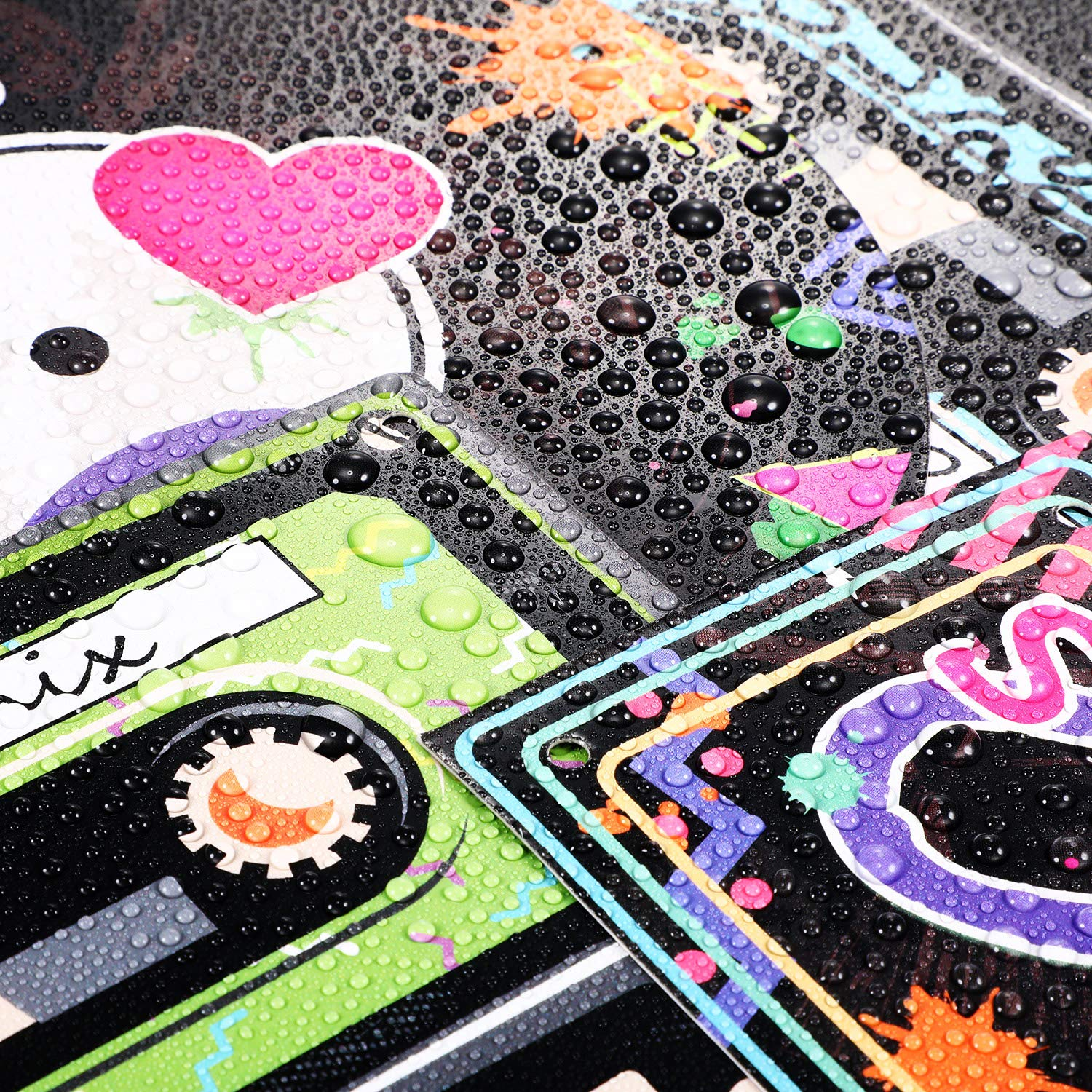 80s Party Supplies 24 Pieces Cassette Tape Cutouts with 7 Different 80s Style 1980s Party Decorations 80s Theme Party Hanging Cards Decorating Kit Retro Design with 2 Ropes and 40 Glue Point Dots
