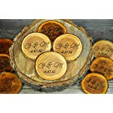 """Engraved Rustic Wood Coasters Personalized Wood Coaster Rustic Wood Slices Engraved Tree Slices 3""""- 4"""" Personalized Wood Coasters"""