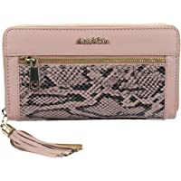 HIDE & SKIN Kipling Python RFID Protected 100% Genuine Leather Handmade Women's Wallet with 24 Carat Gold Plated Metal Fittings +12 Card Slots + 4 Compartment + 1 Zipper Compartment(Pink)