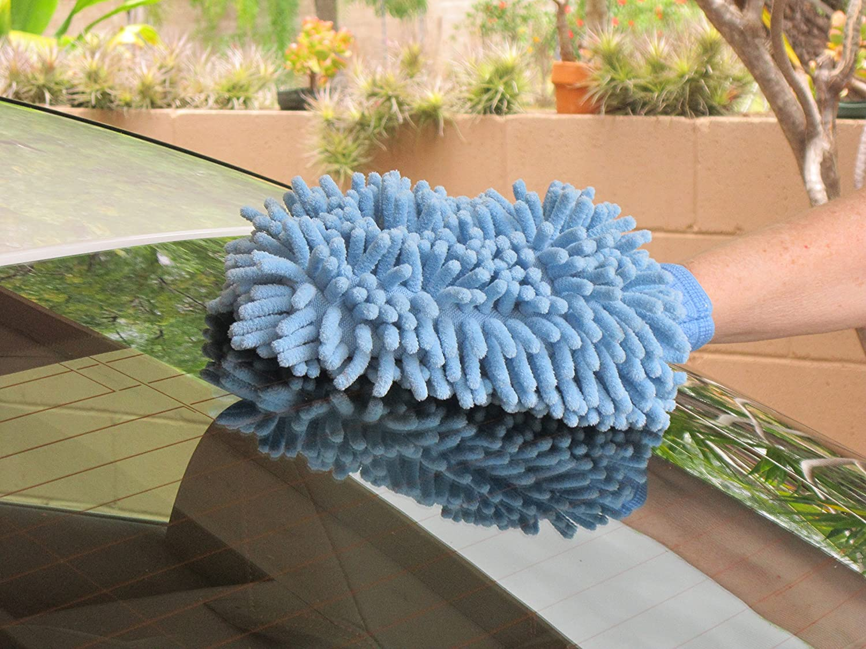 Double Stitched Microfiber Mitten By Raverra Set of 2 Mitts Car Wash Mitt