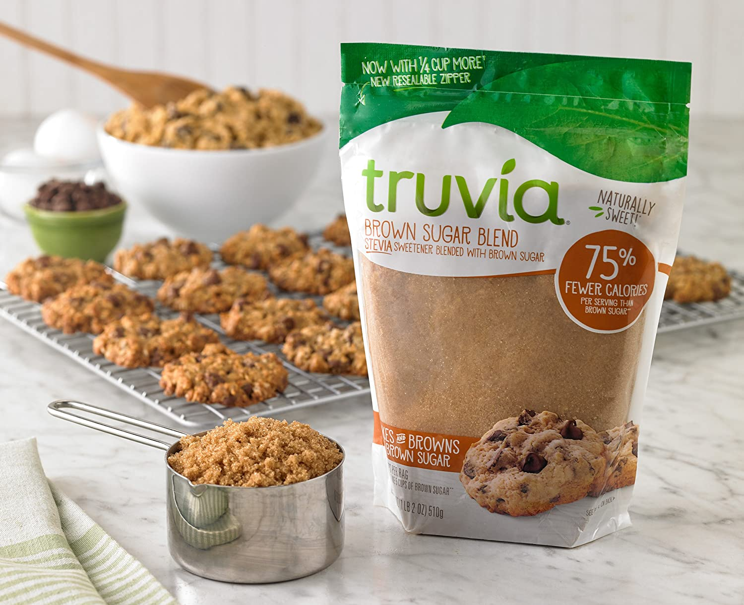 Truvia Brown Sugar Blend Mix Of Natural Stevia Sweetener And Brown Sugar 18 Oz Bag