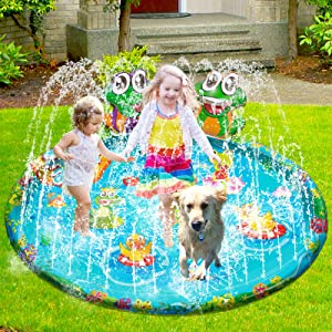 Inflatable Splash Pad for kids 3-in-1 Durable Kiddie Baby Wading Pool Summer Outdoor Home Backyard Garden Water Play Mat Toys, Sprinkler for Adults Dog Toddlers 3 4 5 6 7 8 Year Old Up