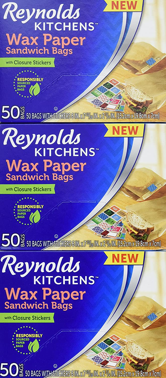 Reynolds Kitchens Sandwich and Snack Wax Paper Bags (50 Count, Pack of 3) Reynolds Consumer Products