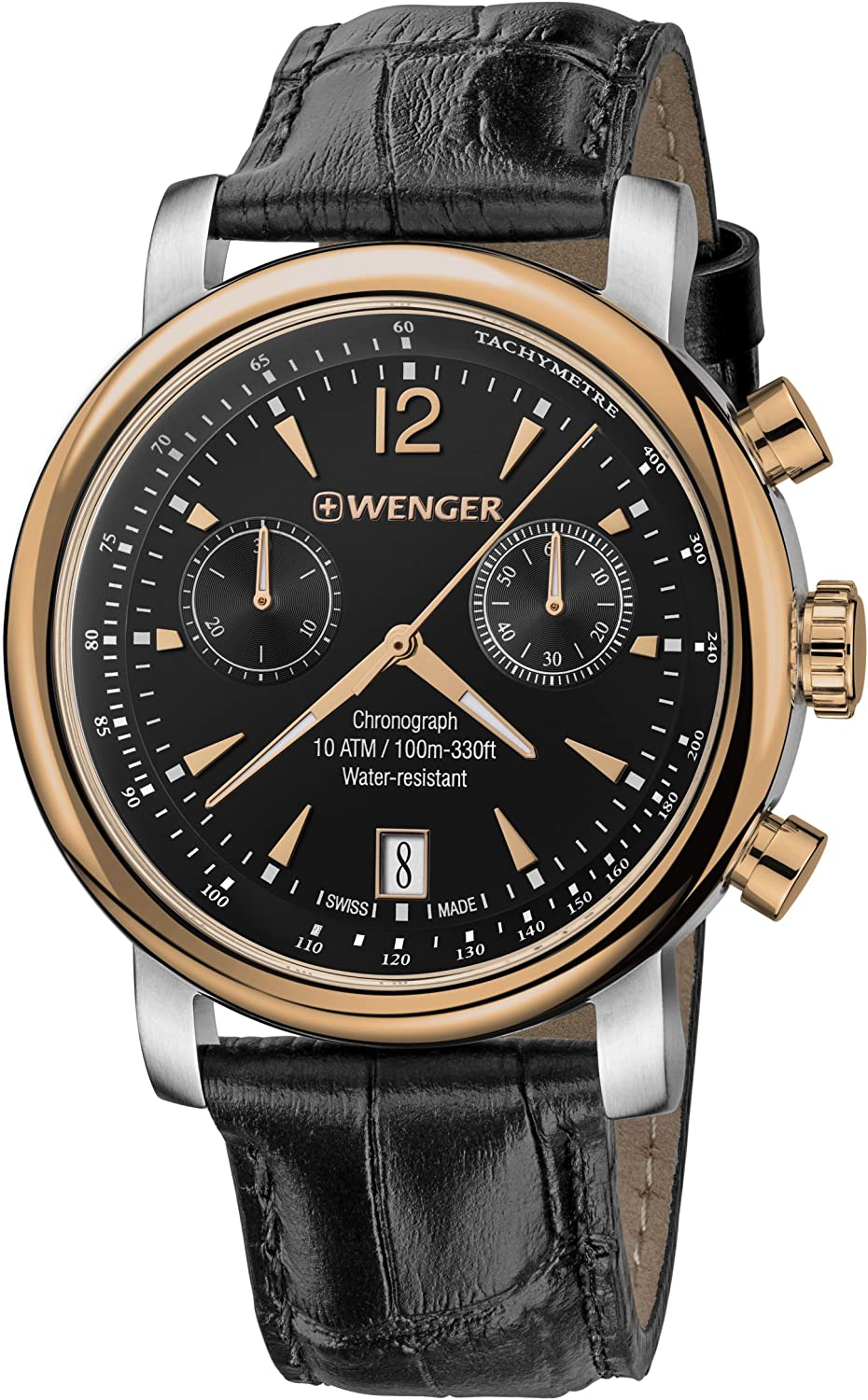 Wenger Men s Urban Classic Chrono Swiss Quartz Steel-Two-Tone and Leather Casual Watch