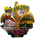 New Orleans Fleur De Lis Holiday Christmas Ornament with Free Gold Drawstring Pouch / Bag