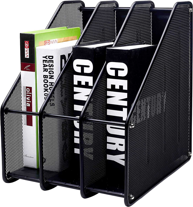 EXERZ Revistero archivador triple de malla metálica/Archivadores de revistas/Estante para escritorio- 3 Compartimentos para Organizador Archivo Documento/Cuadernos/Carpetas (Negro)
