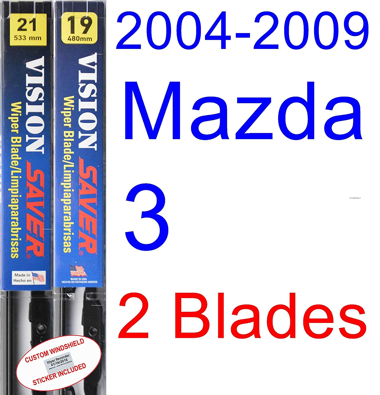 Amazon.com: 2004-2009 Mazda 3 Wiper Blade (Driver) (Saver Automotive Products-Vision Saver) (2005,2006,2007,2008): Automotive
