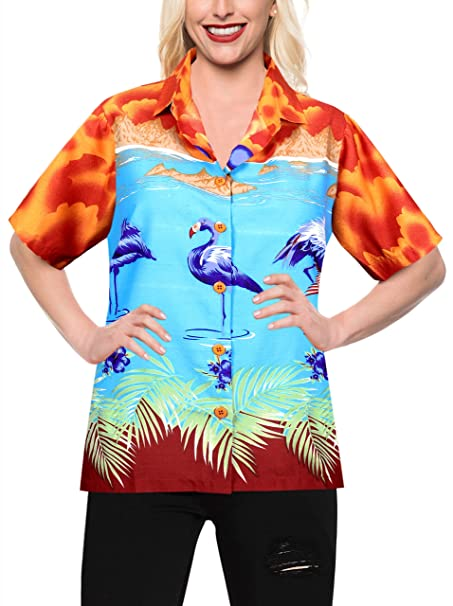 LA LEELA las Mujeres flamencos del Caribe botón Naranja Likre Abajo Corta Camisa de Mangas M
