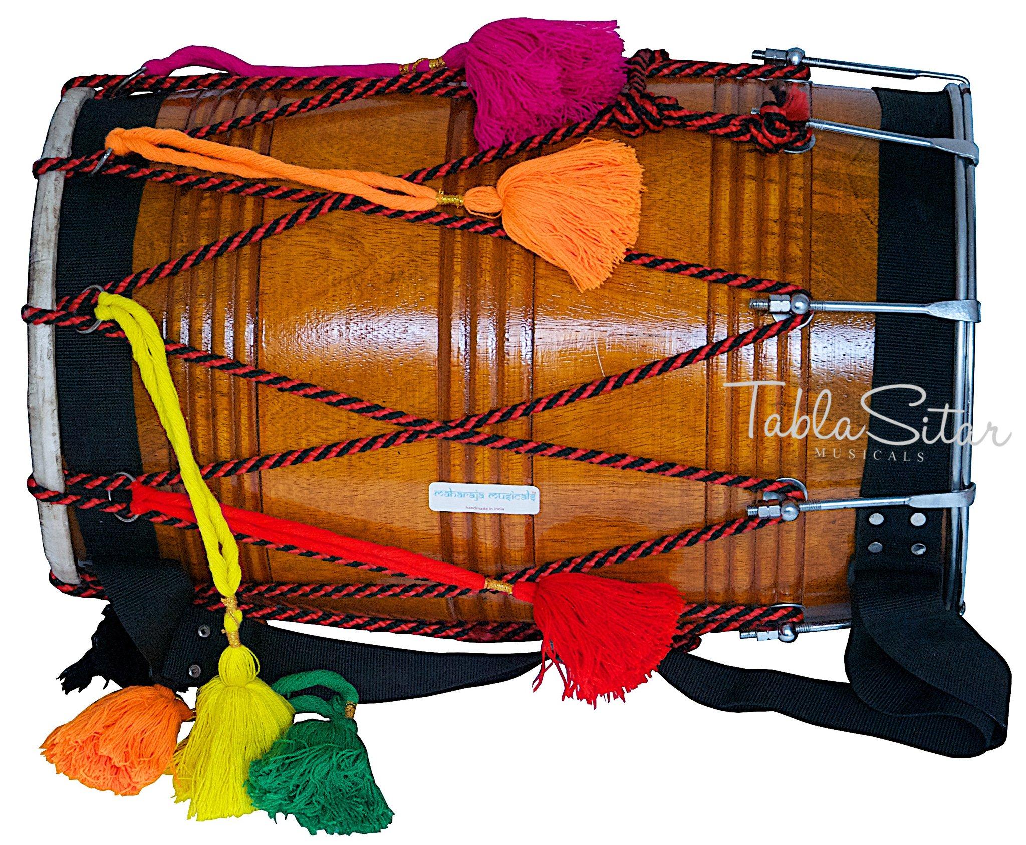 Dhol Drum by Maharaja Musicals, Mango Wood, Natural, Barrel Shaped, Padded Bag, Beaters, Nylon Shoulder Strap, Punjabi Bhangra Dhol Musical Instrument (PDI-GE) by Maharaja Musicals