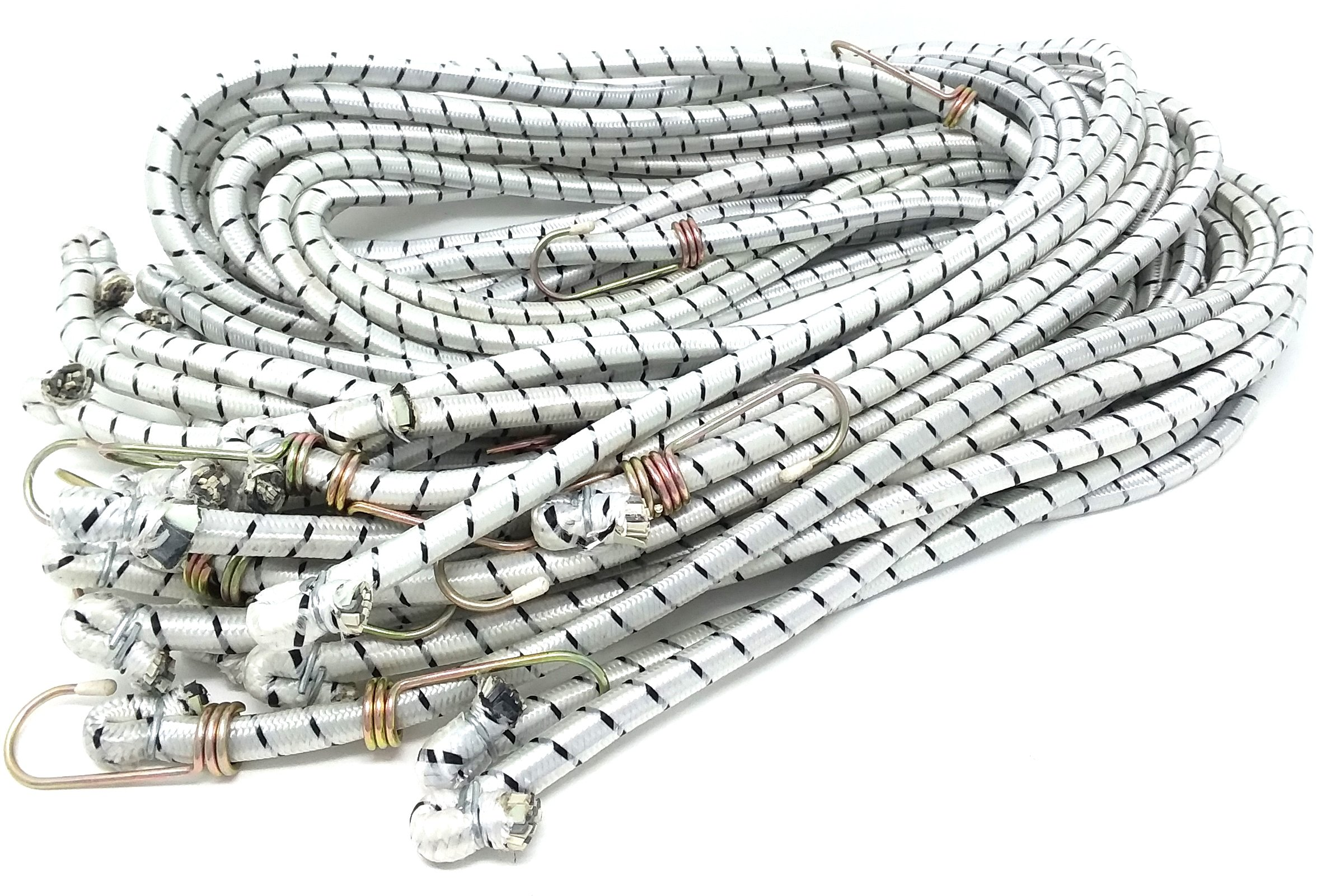 12 72 Inch X 1/2'' Diameter (6Ft) HEAVY DUTY Bungee Stretch Cords With Heat-treated Zinc Plated Strong HOOKS & High Extension Inside Rubber Core CARS, TRUCKS, RV'S, TRAVEL, STORAGE WHOLESALE BULK LOT by Chachlili