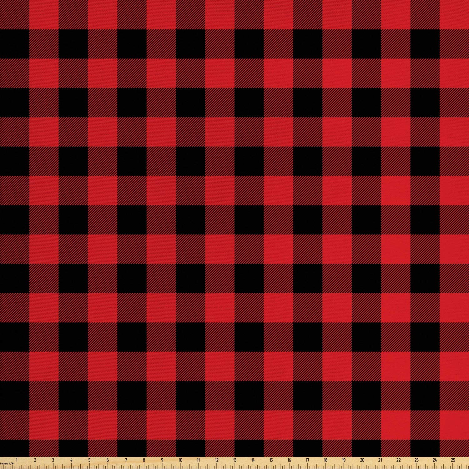 Ambesonne Plaid Fabric by The Yard, Lumberjack Fashion Buffalo Style Checks Pattern Retro Style with Grid Composition, Decorative Fabric for Upholstery and Home Accents, 1 Yard, Orange Black