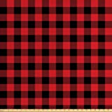 Ambesonne Plaid Fabric by The Yard, Lumberjack Fashion Buffalo Style Checks Pattern Retro Style with Grid Composition, Decorative Fabric for Upholstery and Home Accents, 3 Yards, Orange Black