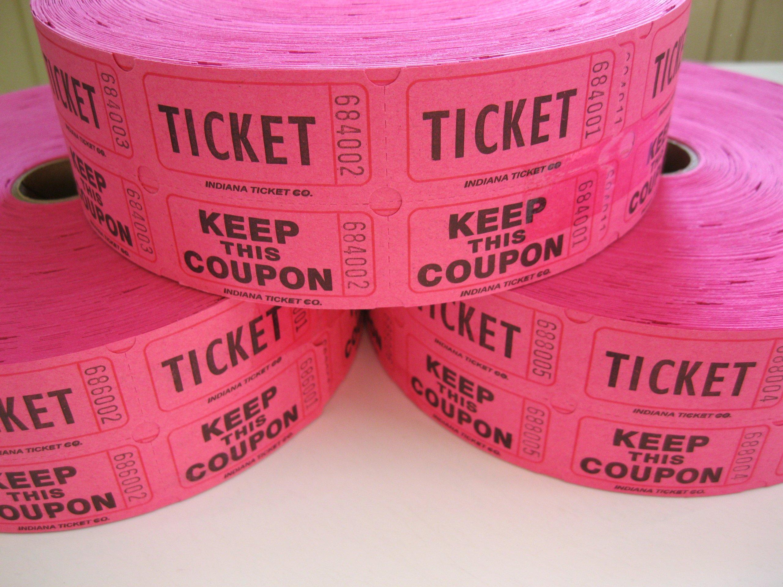 3 Rolls Hot Pink 50-50 Raffle Tickets