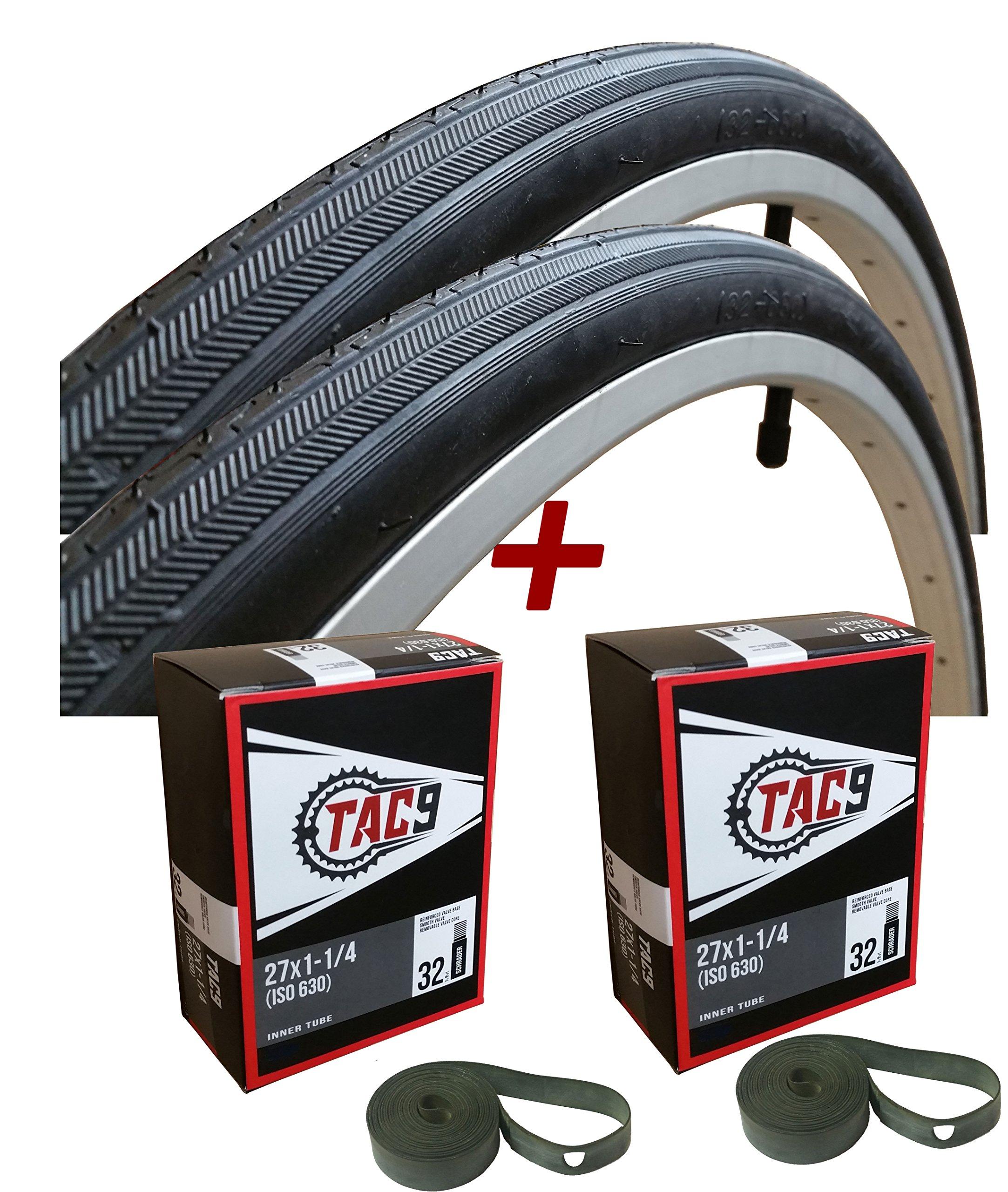 TAC 9 Two Pack - 27x1-1/4 Bike Tire, Bonus Tube and Rim Strip - Select Gum Wall or Black Wall by TAC 9
