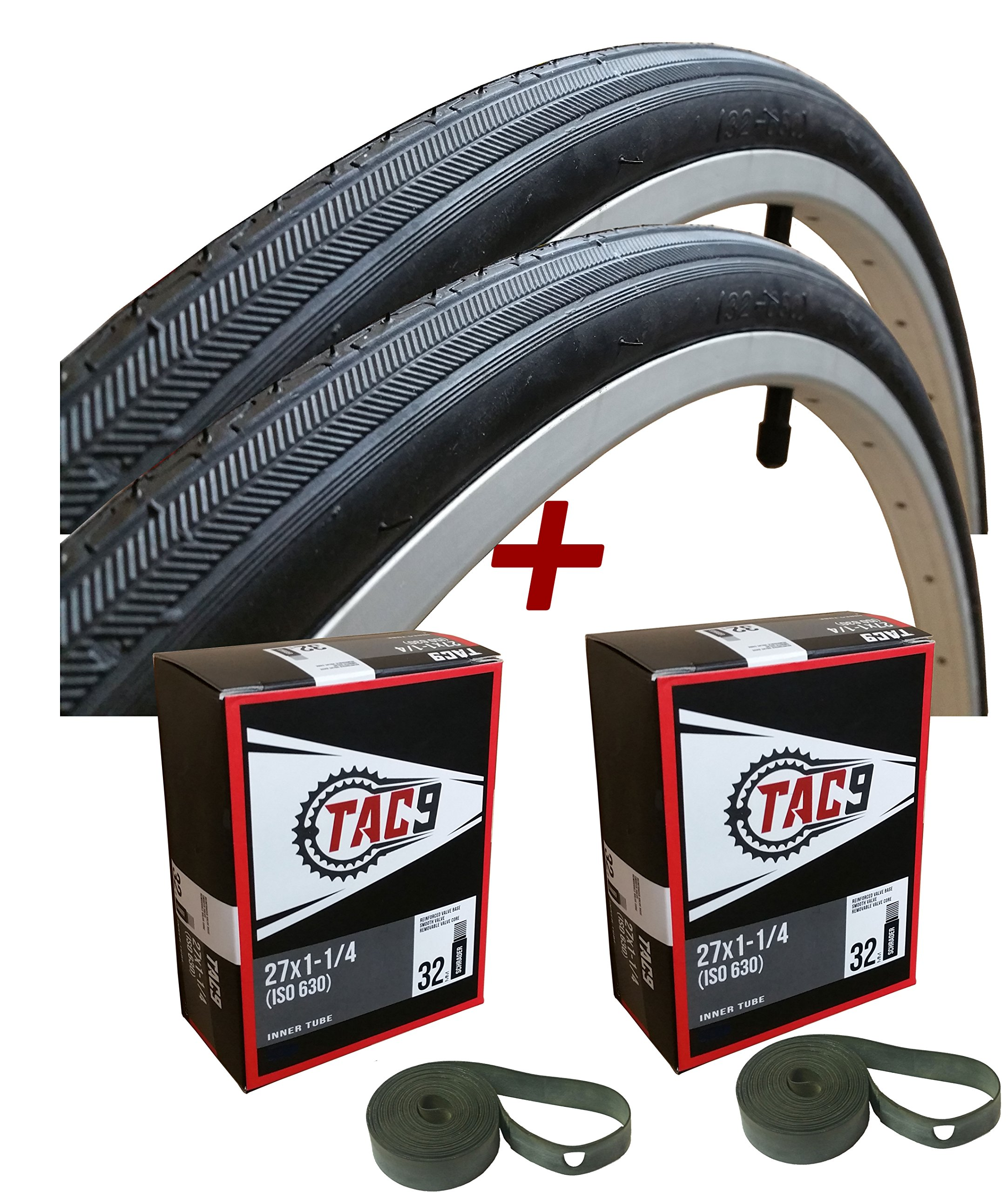 TAC 9 Two Pack - 27x1-1/4'' Bike Tire, BONUS Tube and Rim Strip - Select Gum Wall or Black Wall