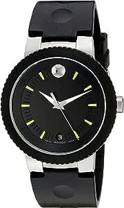 Movado Black Rubber Black dial Watch for Men 0606928