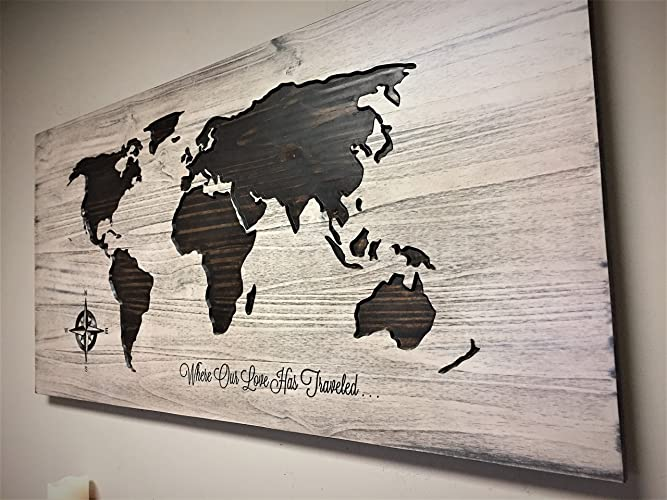 Wood wall art wooden map world map with quote Large World Map Art : family wooden wall art - www.pureclipart.com